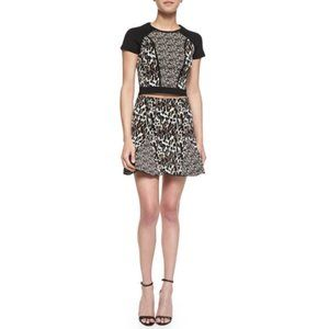 Parker Kenna Mixed Animal-Print Godet Skirt